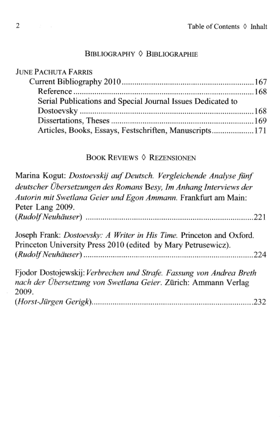 Dostoevsky Studies 14 - Inhaltsverzeichnis