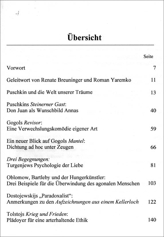 Inhaltsverzeichnis - Gerigk: Puschkin und die Welt unserer Träume