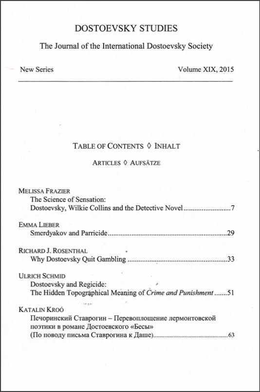 Dostoevsky Studies Inhaltsverzeichnis Vol. 19